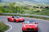 Two red Ferrari 430 Scuderia spider take part to the 1000 Miglia Ferrari Tribute — Stock Photo