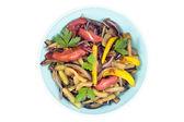 Warm salad with eggplant — Stock Photo