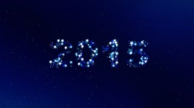New year 2015 sparkles on a dark blue background. — Stock Video