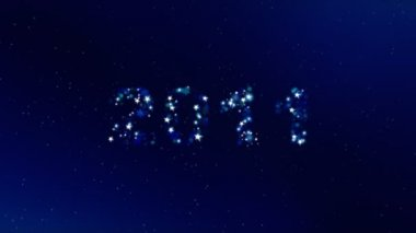 Shining text 2011 animation on dark blue background. — Stockvideo