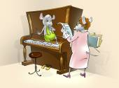 Little mouse having a piano lesson. — 图库照片