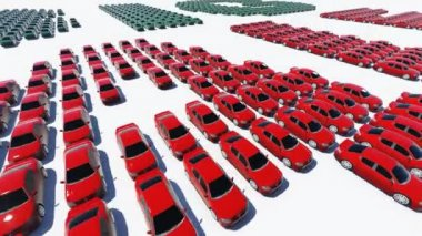 Word BIG SALE made from green and red cars — Stock Video
