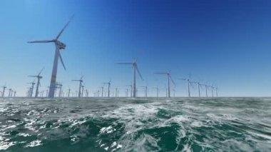 Offshore Wind Farm in the ocean — Stock Video