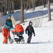 Young mother with baby carriage and kids walking in winter — Stock Video #67401463