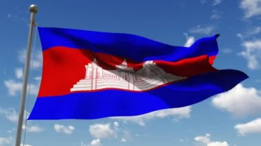 Cambodia flag waving in the wind against cloudy sky — Stock Video