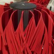 Close up of automatic car wash red brushes — Stock Photo #70070837