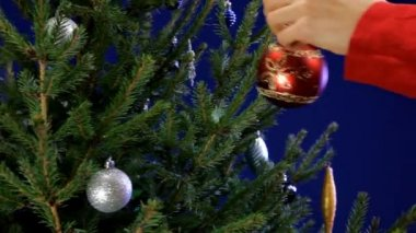 Decorating Christmas Tree. — Stock Video