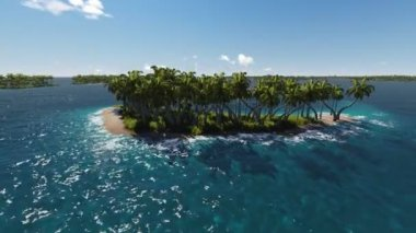 Palm trees on the island in the ocean. — Stock Video