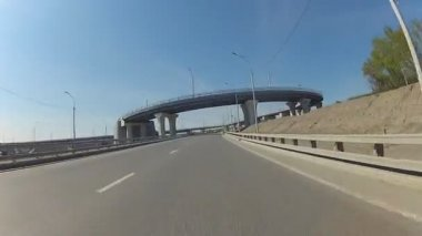 Car POV driving on city highway, Novosibirsk, Russia — Stock Video