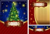 Set of a bright Christmas greeting cards — Stock Vector