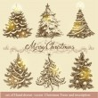 Golden Christmas trees. — Stock Vector #58082575