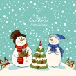Loving couple of snowmen with gifts beside christmas tree.Greeting card — Stock Vector #58205959