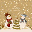 Loving couple of snowmen with gifts beside christmas tree.Greeting card — Stock Vector #58205991