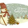 Snowman with gifts beside christmas tree. — Stock Vector #58206075