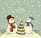 Loving couple of snowmen with gifts beside christmas tree.Greeting card — Stock Vector