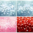 Set of festive lights in heart and star shapes, vector background. — Stock Vector #58278383