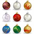 Set of nine, different color, vector christmas balls — Vector de stock  #58365811