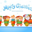 Toy train with Santa Claus and kids. — Stock Vector #59705877