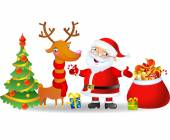 Santa Claus and Reindeer with a bag of Christmas Gifts — Stock Vector