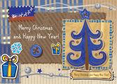 Scrapbook Christmas greeting card. — Stock Vector