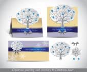 Gratulationskort med silver utsmyckade vinter träd. — Stockvektor