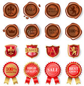 Wax seal collection — Stock Vector