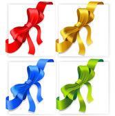 Four satin ribbon corners. — Stock Vector