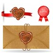 Wax seal collection in heart shape. — Stock Vector #61327745