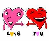 Two Loving cartoon hearts — Stock Vector