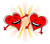 Laughing cartoon hearts — Stock Vector