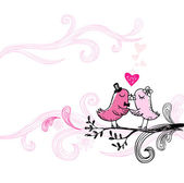 Romantic kissing birds. — Stock vektor