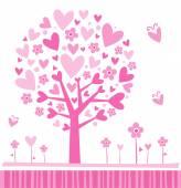 Tree made of hearts. — Stock Vector