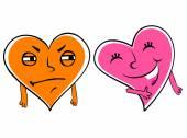 Jealous cartoon heart — Stock Vector