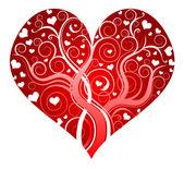 Red ornate heart — Stock Vector