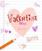 Valentines doodles. — Vettoriale Stock
