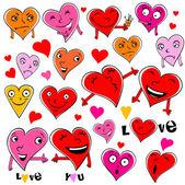 Funny cartoon hearts. — Stock Vector