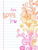 Hand-Drawn Sketch floral composition. — Vetor de Stock