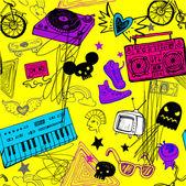 Seamless yellow music background. — Stock Vector