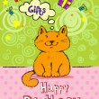 Birthday greeting card with red cat — Stock Vector #64213505