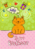 Birthday greeting card with red cat — Stock Vector