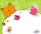 Greeting card with red cat and place for text. — Stock Vector