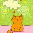 Greeting card with red cat — Stock Vector #64443969