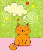 Greeting card with red cat — Stock Vector
