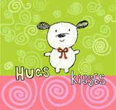 Hugs and kisses greeting card with cute puppy — Stock Vector