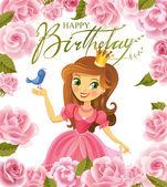 Happy Birthday, Princess, greeting card. — Stock Vector