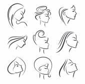 Girls portrait  - vector silhouette icon, monochrome — Stock Vector