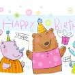 Birthday banner with animals. — Stock Vector #65993525