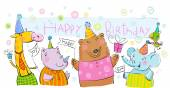 Birthday banner with animals. — Stock Vector