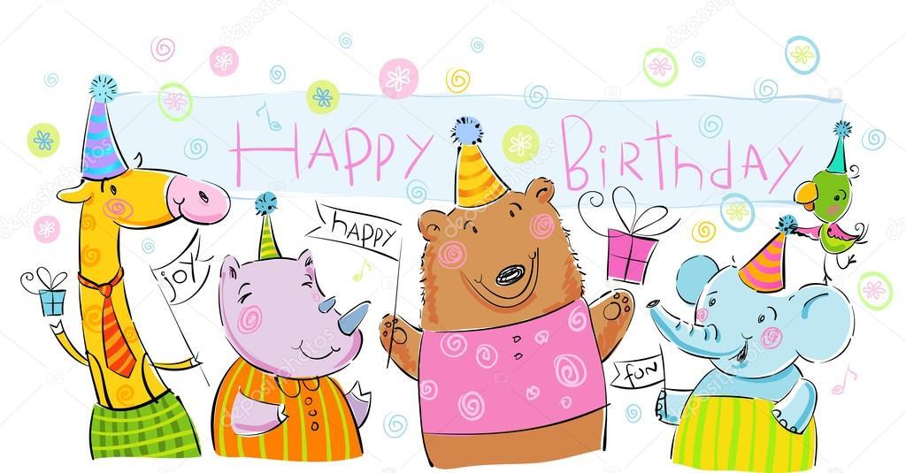 生日横幅与可爱的小动物, 气球, 礼品和娱乐— vector by azzzya