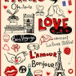 Paris love doodles — Stock Vector #67246943